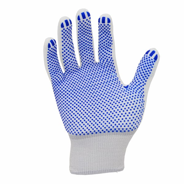 Blue PVC Dotted Palm Gloves - Carbon