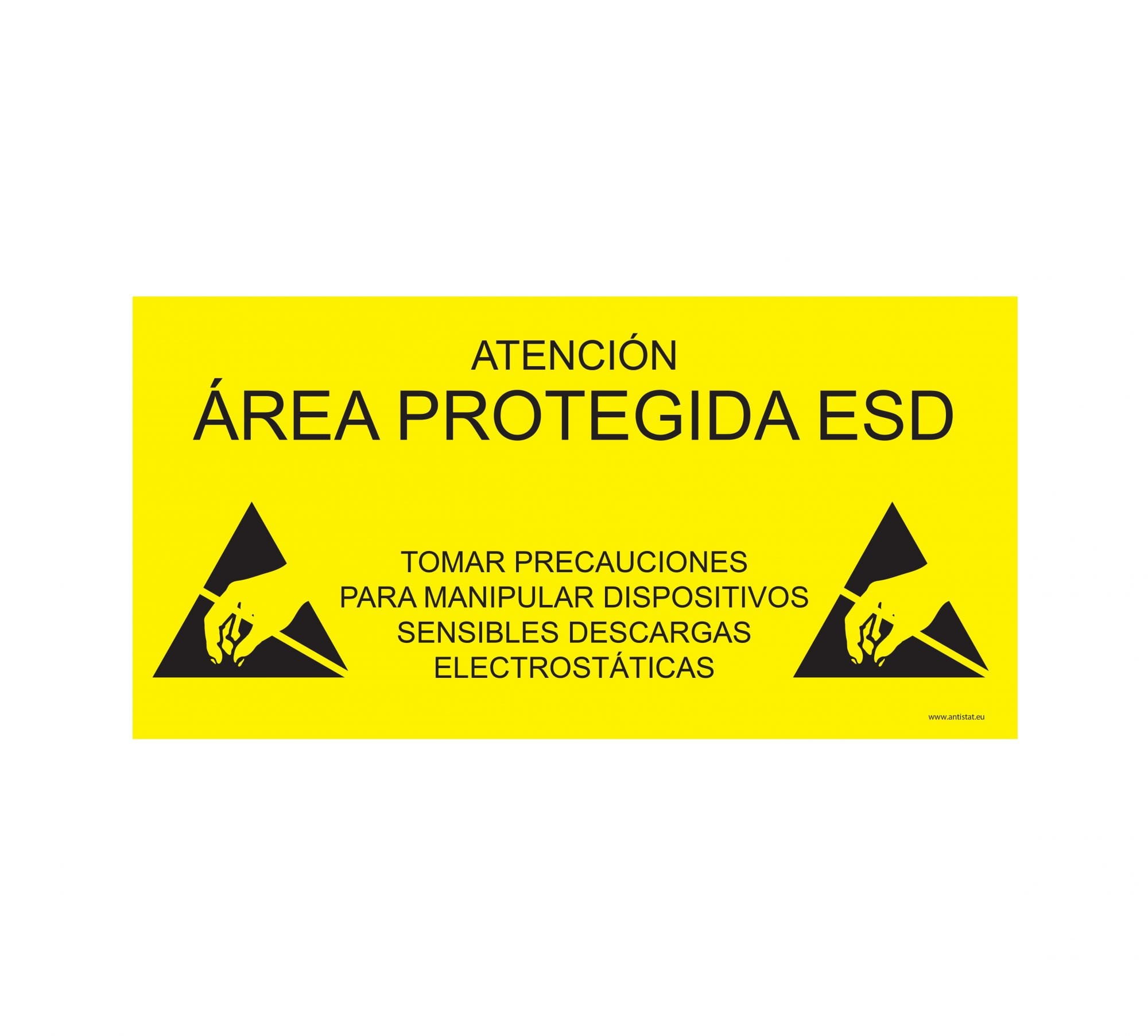 ESD Protected Area Sign_305x105_yellow background_SPANISH