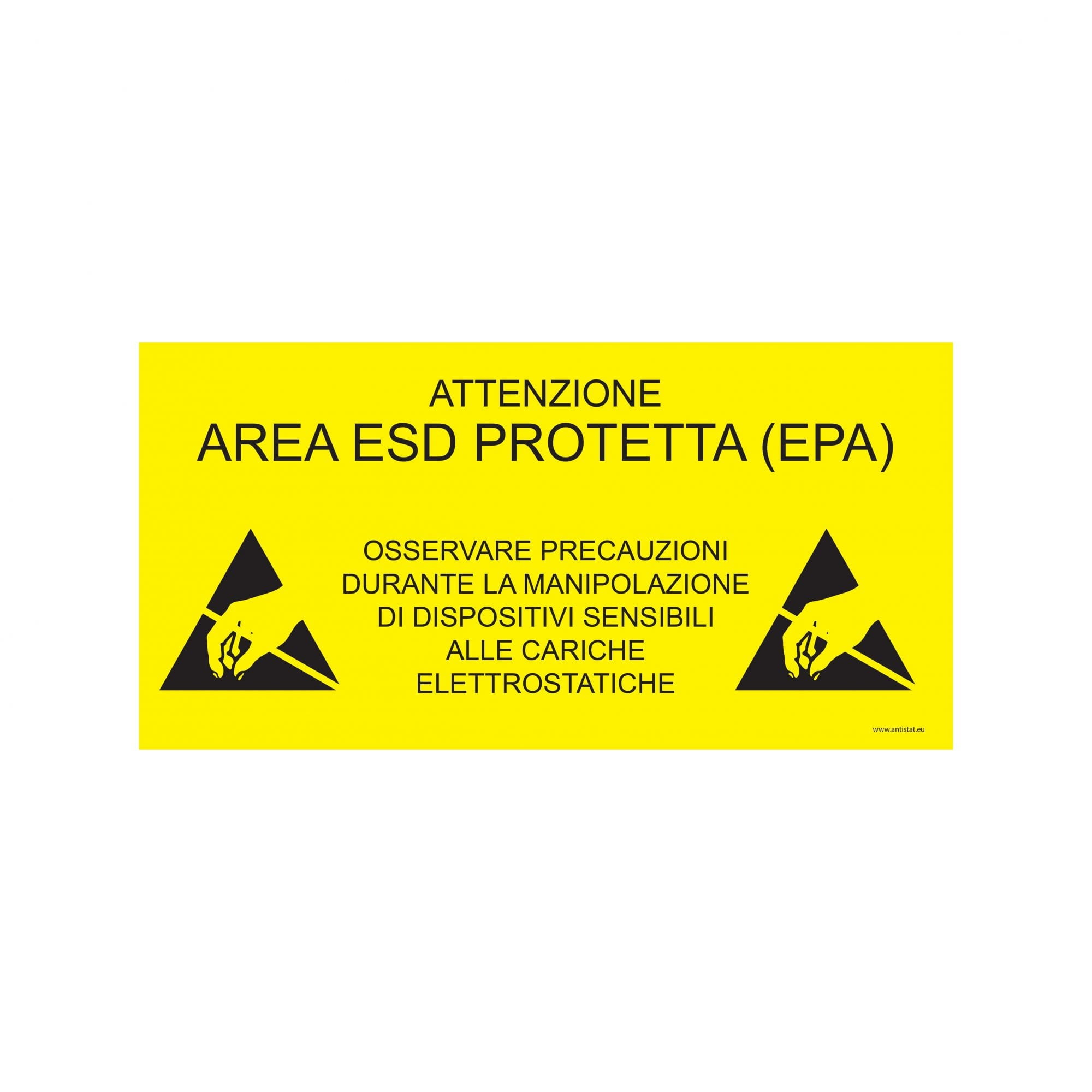 ESD Protected Area Sign_305x105_yellow background_ITALIAN