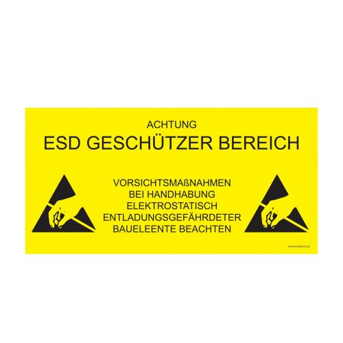 055-0009_ESD Protected Area Sign_600x300_yellow background_GERMA